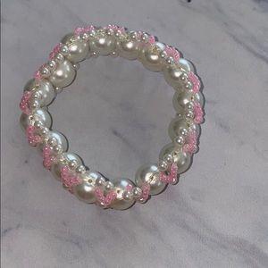 Pink & Pearl Handbeaded Bracelet 🌸